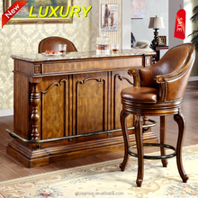 French Style Baroque Home Bar Furniture/European Classic Mini Bar/Wooden Hand Carved Bar Cabinet,Bar table and chair used