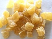 Dried sugar crystalized ginger slices and cubes