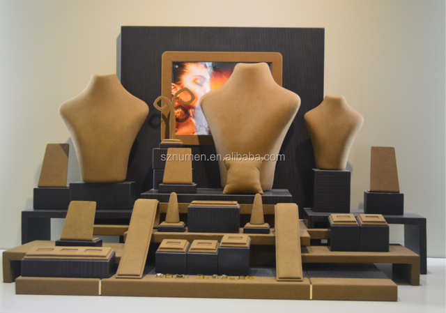 2015 newest jewellery window display props high-end suede jewellery display