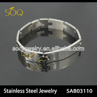 China Yiwu Alibaba Wholesale Men Magnetic Two Tone Stainless Steel Fashion Bracelet