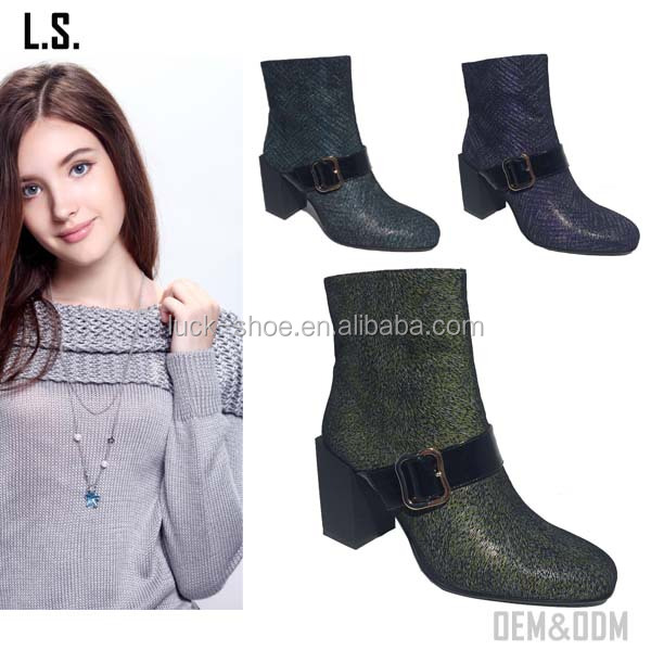 2017 OEM green genuine leather ankle boots chucky heel half boots ladies fashion ankle boots with strap