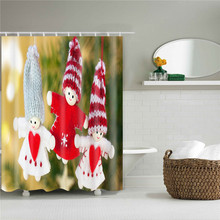 Wholesale 100% polyester fancy Christmas shower curtain with waterproof