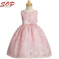 New model one piece party dress cotton frock designs girl fancy flower dress