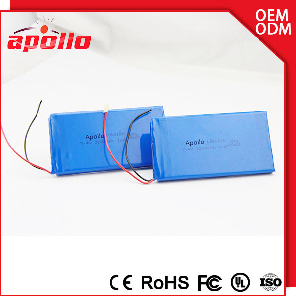 2S1P rechargeable polymer battery 7.4v 1200mAh li-ion battery pack