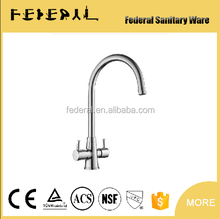 dual handle deck mount kitchen faucet,Double holder Hot and cold water brass mixer tap,