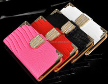 Lizard Leather Skin Diamond Leather Case Flip Diamond Bling Leather Case for iPhone 5 5s 5c 4 4s