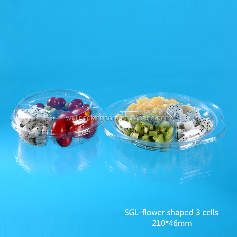 Round Plastic fresh fruit salad packing bowl with flower edge.