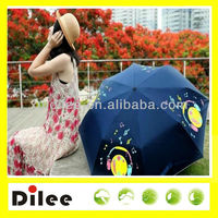 dark blue color changing cartoon printing ladies fashion folding umbrella