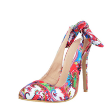 Brand Elegant satin Office Ladies Pump Shoes Multicolor Party Wear Printing Leather High Heel Dress