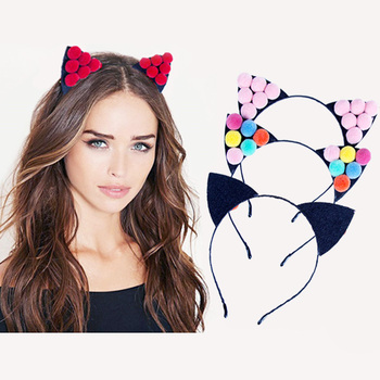 AP32101 New design women's candy cat ear hair band baby performance hair bow band wholesale