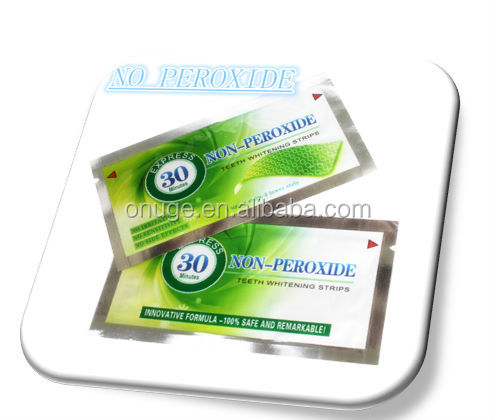 New professional Non peroxide green foil household teeth whitening strips, replace crest whitestrips