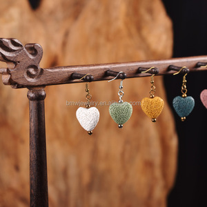 Multi color stone love heart women stud earrings in volcanic rock material fashion earring jewelry