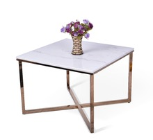 Fashion design square Chinese real marble top metal with brass plated coffee table