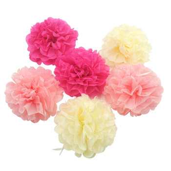 Wedding Handmade DIY Tissue Paper Pompom Happy Birthday Decoration Colorful