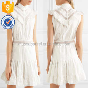 Lace-Trimmed Ruffled Embroidered Cotton Mini Women Dress OEM/ODM Women Apparel Clothing Garment Wholesaler