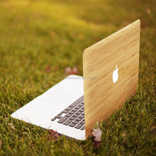 "China Factory Wooden Pattern Hard Cover Case for Macbook 12.1"" for Apple Laptop Logo Laser Engraving Bamboo Case for Macbook Pro"