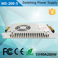 200W 5V Constant Voltage 5V40A Slim Power Supply For LED light With CE ROHS FCC