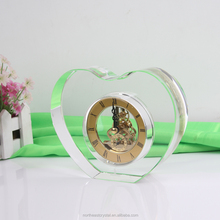 Clear Crystal Heart Shaped Table Decorations Clock