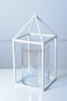 House white metal and big clear glass pillar holder