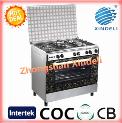 Gas convection oven with mirror stainless steel body