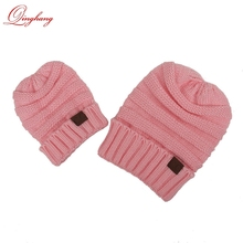 Promotional Christmas Gift Soft Pink Mom and Babies Cable Knit Winter CC Beanie Hat Wholesale