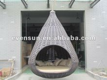 1pc synthetic rattan/wicker outdoor garden KD nest hanging bed with umbrella