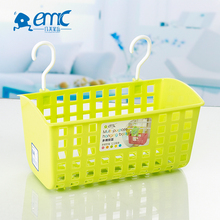Multipurpose small mesh plastic hanging kitchen storage basket with double hooks