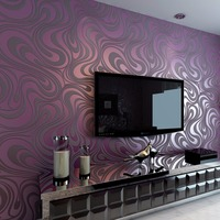 Bronzing 0.7*8.4m soundproof hot sale flock velvet wallpaper