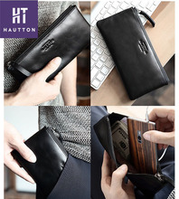 New Arrival Fashion Man Long Soft Slim Wallets Top Selling Professional Genuine Top Cow Leather Cluth Bags For Men