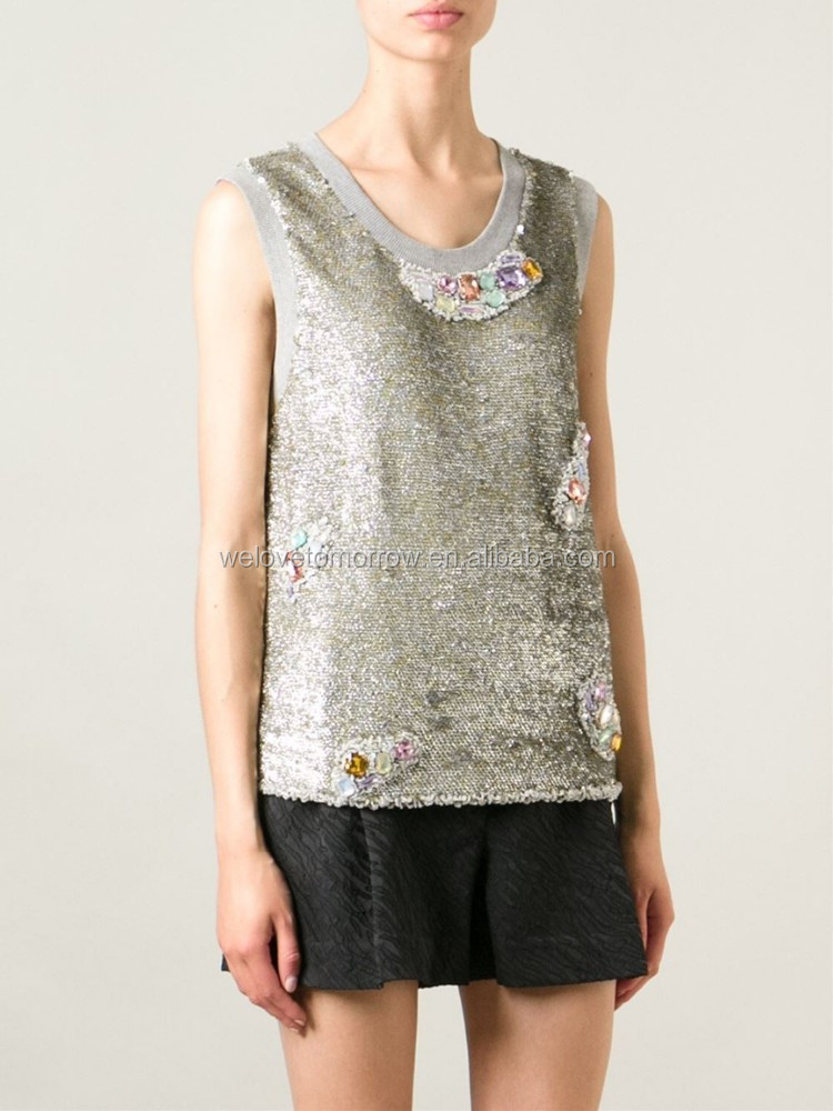 Silver and gold-tone stretch cotton and silk sequined crystal embellished women tand top for wholesale