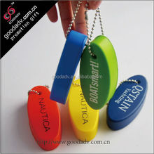 Factory manufacture Colorful eco-friendly pu float keyring / pu keychain