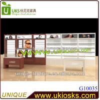 Rotatable wooden furniture sunglass display/MDF sunglasses display case/acrylic display stand for sunglasses
