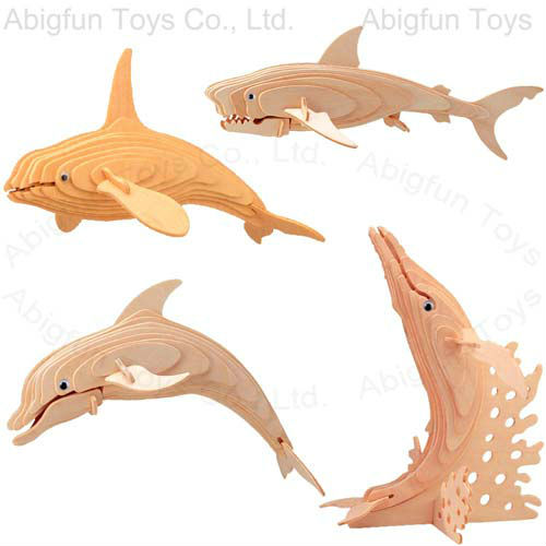 aquatic animal wood craft kits, wooden dolphin construction kit