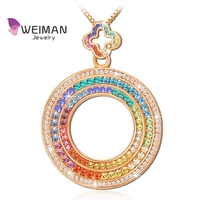 *DUBAI Eye* Double-Sided Rainbow-Colored Crystals & Ferris Wheel Rose dubai Gold Plated Pendant Necklace