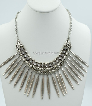 New Fashion 316l Stainless Steel Silver Striped Charm Statement Bib Necklace Crystal Women Gift