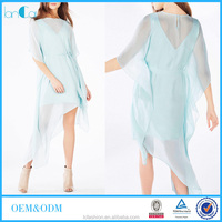 Hot sell fashion Elegant Soft Blue Short Sleeve Georgette Dress Clothes For Women