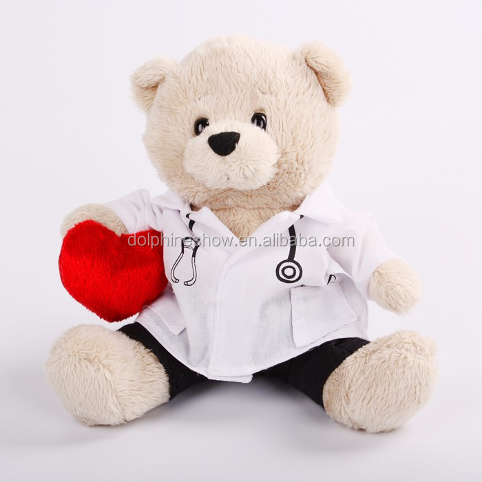 Pretty New plush valentine teddy bear toy promotional custom wedding gift soft toy stuffed plush white teddy bear with red heart