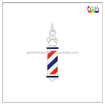 New design hollow paw print barber shope pole pendant