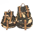 Trendy Vintage Simple Army Green Canvas Military Rucksack Bag with Waterproof Cover