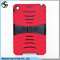 Shockproof heavy duty 3 in 1 hybrid combo silicone pc tablet cover case for ipad mini 2 case