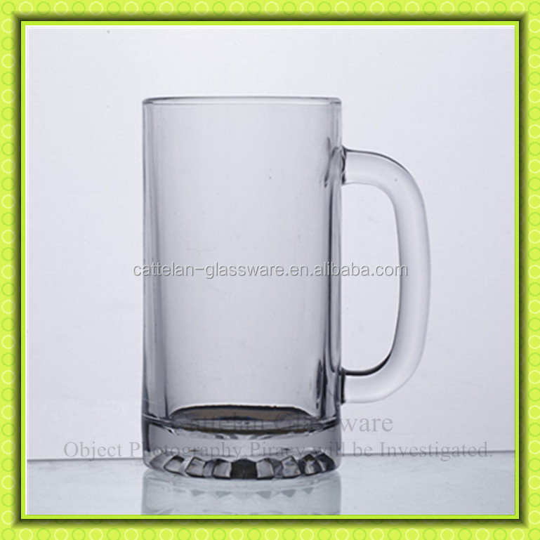 sublimation clear glass beer stein,glass beer mug with handle,barware,Anhui manufacturer