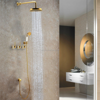 Golden Plated Luxury Rainfall Concealed Shower Mixer