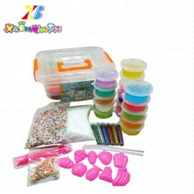 Hot selling Diy crystal slime making kit 16 colors slime with foam beads shimmering power slime fruit factory