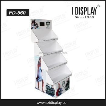corrugated cardboard pos display with video in display