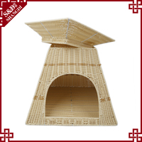 Pet products 2017 Customized outdoor and indoor 2 layer handwoven pet dog house rattan plastic cat house