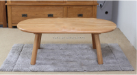 Solid oak furniture natural color wooden coffee table 02