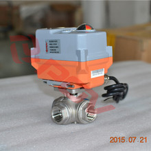 3 way thread 3/8 inch mini ball valve with electric actuator