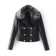 Latest good quality thick wholesale faux fur fleece leather jacket women long sleeve winter coat