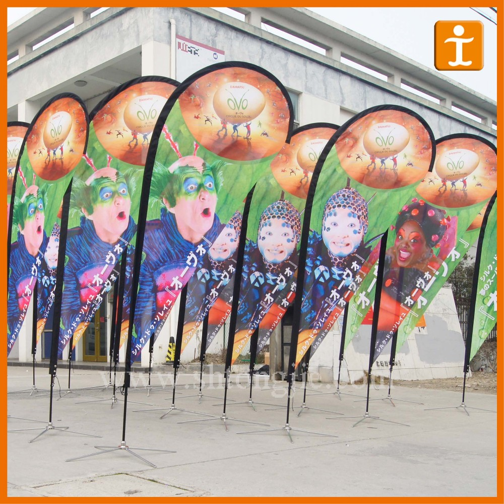 Manufacturing custome logo printed Outdoor Advertising Beach Flag and Feather Flag,outdoor promotional flags