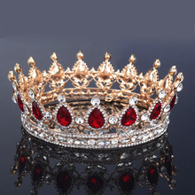 Glorious Simulated Red Ruby Crystal Pagent Full Circle Crowns Bridal Gold Tiaras